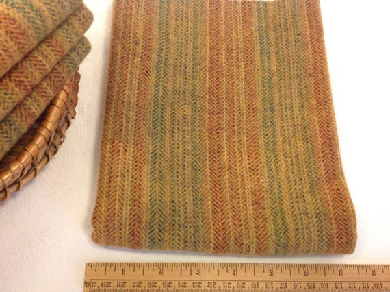 Fat 1/4 yard, Hand Dyed Wool, Golden Harvest Stripe, W429, Rug Hooking Wool, Applique Wool, Gold, Green, Red, Country Gold Stripe,