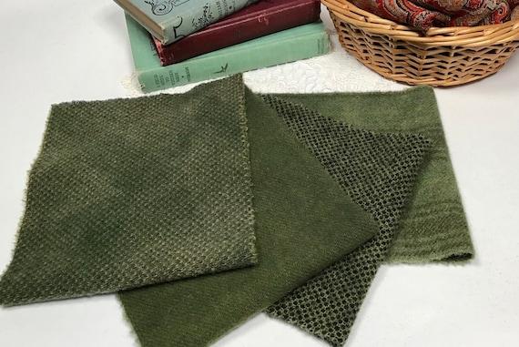 4) fat 1/16ths, Pine Ridge Greens, hand dyed wool fabric, W571, Forest Greens, Deep Greens