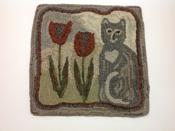 "Rug Hooking PATTERN, Tulip the Cat, 14"" x 14"", P105, Primitive Rug Hooking, DIY Cat Project"
