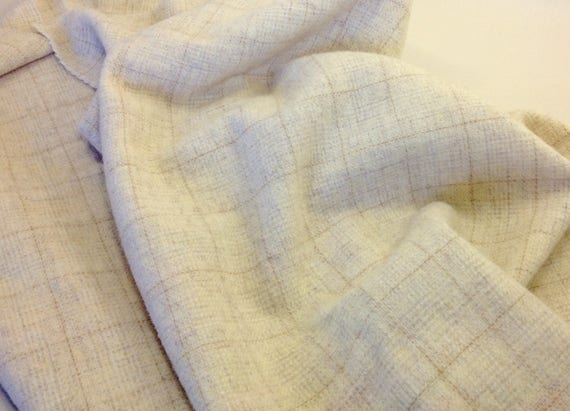 Fat 1/4 Yard, Buttermilk Cream, Mill Dyed Wool Fabric for Rug Hooking and Applique,  W341, Natural Wool with soft gold windowpane,
