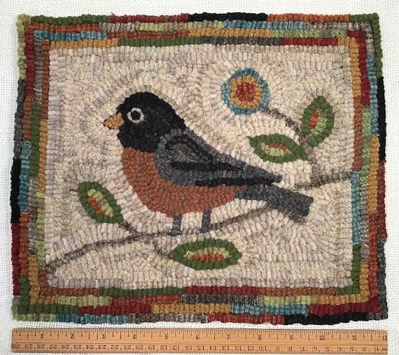 "Rug Hooking PATTERN, American Robin 10"" x 12"", P214,  Folk Art Bird Design, DIY Primitive Rug Hooking"