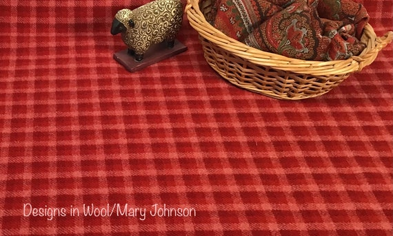 Love Always, Mill Dyed Wool Fabric for Rug Hooking and Appliqué, W508, Red and Pink Checked Wool