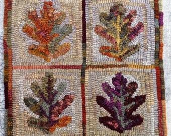 """Rug Hooking PATTERN,  Oak Leaves, 12"""" x 12"""", P168, DIY Rug Hooking, Primitive Rug Hooking Design"""