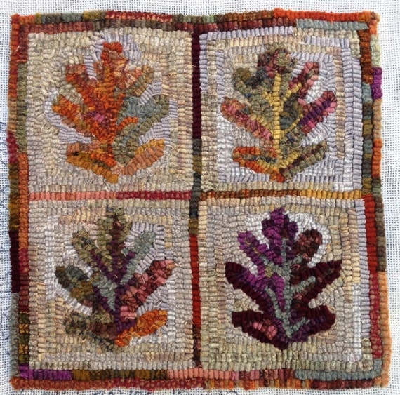 "Rug Hooking PATTERN,  Oak Leaves, 12"" x 12"", P168, DIY Rug Hooking, Primitive Rug Hooking Design"