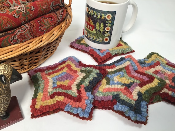 Star Mug Rugs, Kit OR Wool Pack, W385, DIY Mug Rugs or Star Ornaments, Christmas Ornies, for Applique, Rug Hooking, Penny Rugs