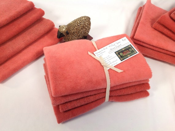Coral Bells, 4) fat eighths, Hand Dyed wool for Rug Hooking and Applique, W446, Spring coral orange, tangy coral rose