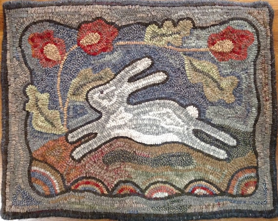 "Rug Hooking PATTERN, Spring Delight, 18"" x 24"", J804, DIY Bunny Hooked Rug, Primitive Hooked Rabbit, Folk Art Bunny"