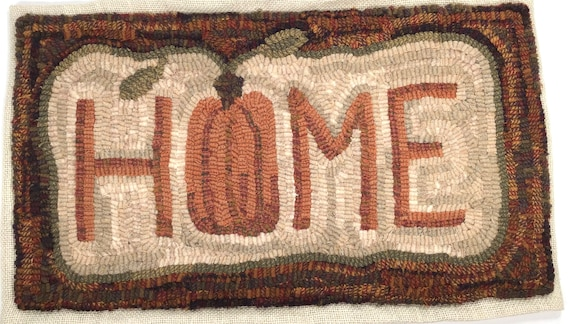 "Rug Hooking PATTERN, Harvest Home, 11"" x 20"", P143, Primitive Rug Hooking, Autumn, Halloween, Fall DIY Hooked Rug"