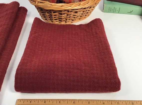 Cranberry Red, 1/4 Yard, Hand Dyed Wool Fabric for Rug Hooking and Applique, W623, Raspberry Red, Ruby Red