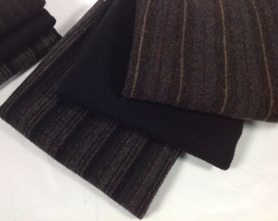 Black Pack, Mill Dyed Wool Fabric,  3) Fat Quarter Yards, W448, Antique Blacks, Plain Black and Black Stripes