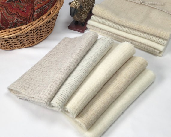 Tranquil Lights, 5) 1/8ths or 5)1/16ths, Mill Dyed Wool for Rug Hooking and Applique, W576, Creams, Grayed whites, natural white