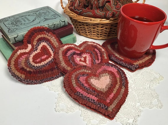 Finished Set of Four, Heart Mug Rugs, designed and hooked by Mary Johnson, H105, OOAK primitive hooked coasters