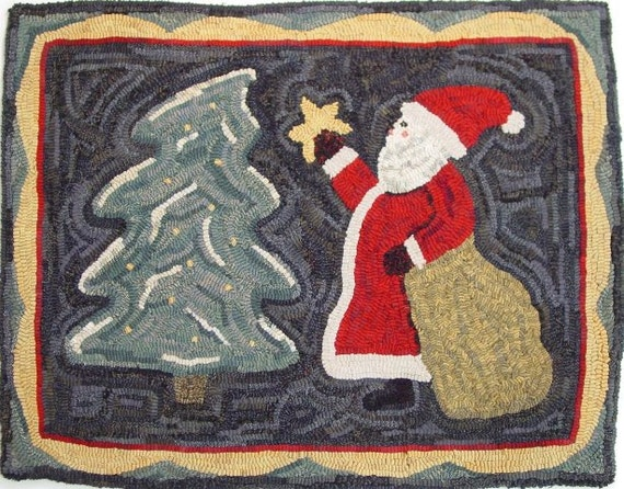 "Rug Hooking PATTERN, Santa Brings The Star, 22"" x 28"", P169, Christmas, Saint Nick, Primitive Hooked Santa"