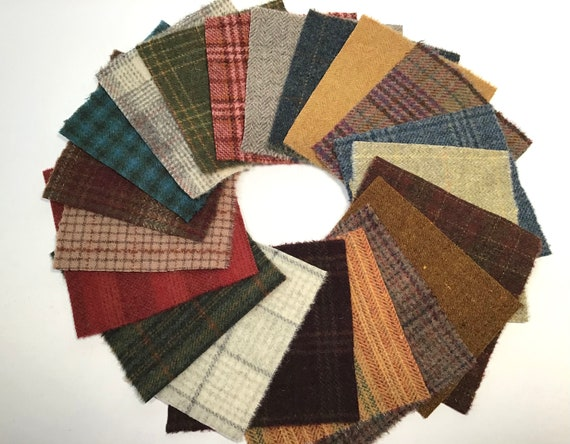 Wool Treasures Scrap Pack, 20 Wool Pieces for Applique and Craft projects, W527, Penny Rugs, Wool Stitchery