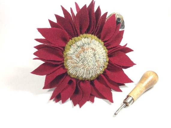 Cranberry Red Wool Flower Pin with White Center, J593, Hand Hooked and Prodded Pin for Hat, Lapel, Basket, Purse, OOAK