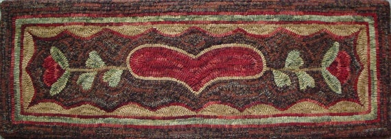 "Rug Hooking PATTERN, Love Runner, 12"" x 36"", P131,  Primitive Heart Rug Pattern, Heart Runner, Table Runner, Bench Runner"