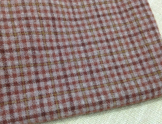 Dusty Purple Check, Wool Fabric for Rug Hooking and Applique, W103, Fat 1/4 or Fat 1/8th, Muted Purple Wool Fabric