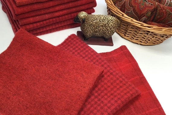 Red Rose Trio, 3) Fat 1/8ths,  Hand Dyed Wool Fabric, W602, Crimson Red, Apple Red, Country Red