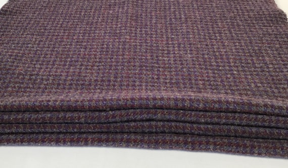 Fat 1/4 Yard, Elderberry Check, Mill Dyed Wool Fabric for Rug Hooking and Applique, W538, purple check, muted purple