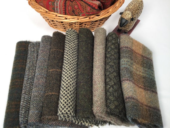9) Fat 1/16ths, Forest Neutrals, Mill Dyed Wool Fabric for Rug Hooking and Applique, W567,  Grays, dark neutrals, textures, plaids