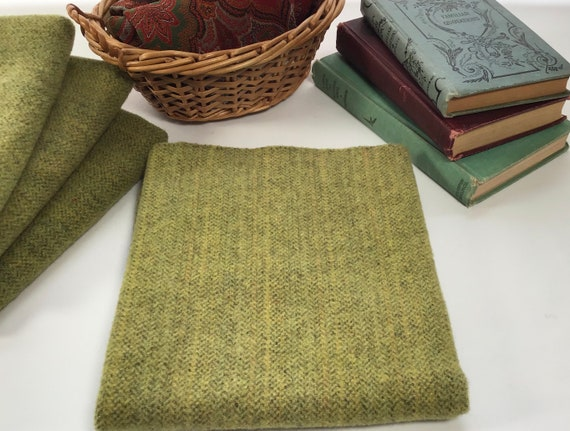 Fat Quarter Yard, Pear Green Stripe, Hand Dyed Wool Fabric for rug hooking and applique, W590, Spring Green, Bright warm green