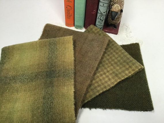 4) Fat 1/16ths, Olive Grove Greens, hand dyed wool fabric for Rug Hooking and Applique, W565, Primitive Green, Khaki Green