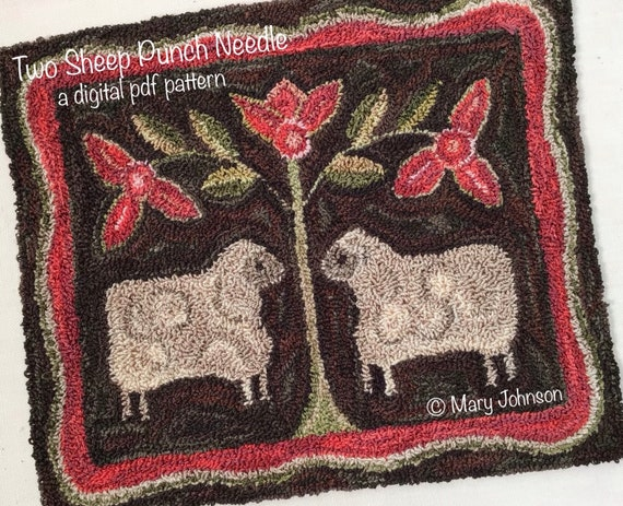 Punch Needle DIGITAL Pattern, Two Sheep by Mary Johnson, Digital Download Pattern