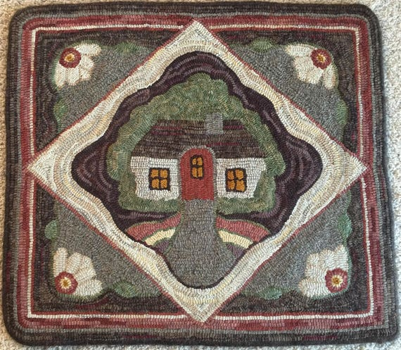 "Rug Hooking PATTERN, ""Cottage Retreat"", 28"" x 32"", Primitive Rug Design DIY,  P129, Folk Art House, Hand Drawn Pattern, Wide Cut Hooking"