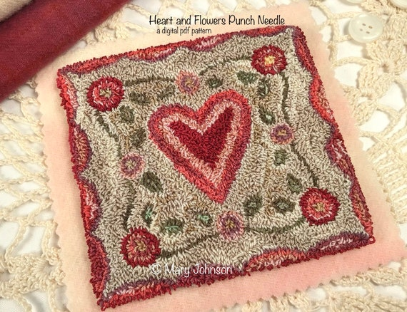 Punch Needle DIGITAL Pattern, Heart and Flowers by Mary Johnson, Digital Download pdf Pattern