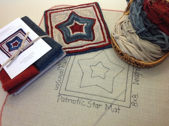 "Rug Hooking KIT, ""Patriotic Star Mat"", 8"" x 8"", K112, Wide Cut Rug Hooking, DIY Hooked Rug Kit, Red White Blue mat"