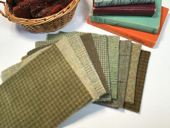 9) Fat 1/16ths, Primitive Greens, Wool Fabric for Rug Hooking and Applique, W588,  Green textures and plaids, OOAK