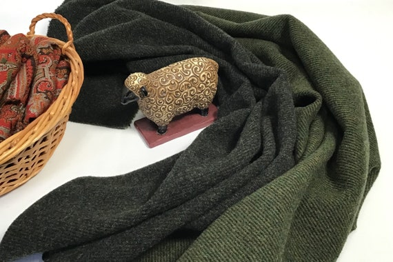 Mountain Pines Green, a mill dyed wool fabric for Rug Hooking and Applique, W539, Dark Green and black reversible