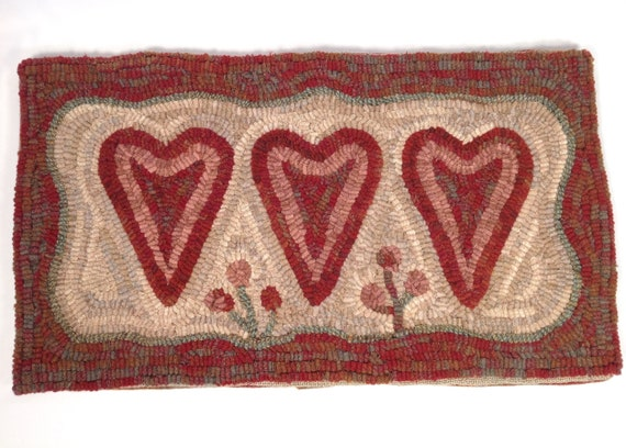 "Rug Hooking PATTERN, Three Hearts, 12"" x 22"", P141, Primitive Rug Design, Wide Cut Hooking, Folk Art Valentine's Pattern, Love Pattern"