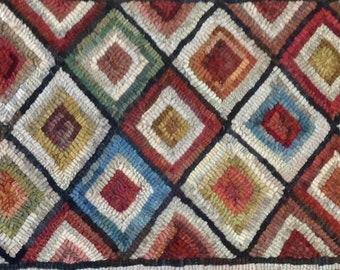 "Rug Hooking PATTERN, Diamond Geometric  14"" x 52"", P132, Primitive Wide Cut Pattern, Folk Art DIY Geometric Pattern"