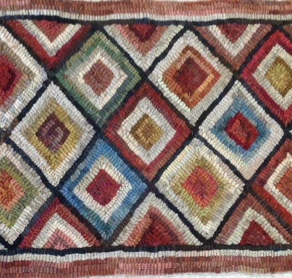 "Rug Hooking PATTERN, Diamond Geometric  14"" x 52"", P132, Primitive Wide Cut Pattern, Folk Art DIY Geometric Pattern"