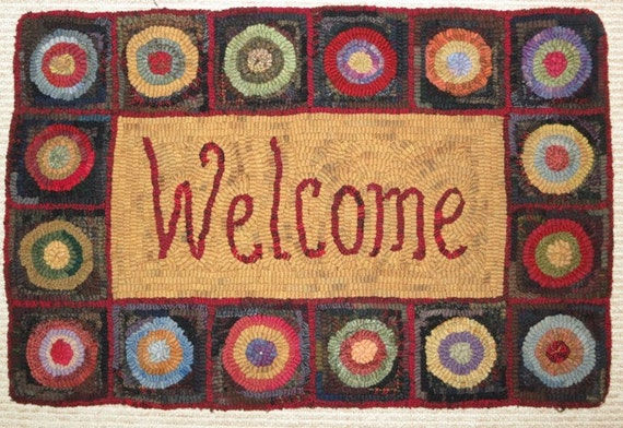 "Rug Hooking Pattern, Penny Rug Welcome, 16"" x 24"", J743"