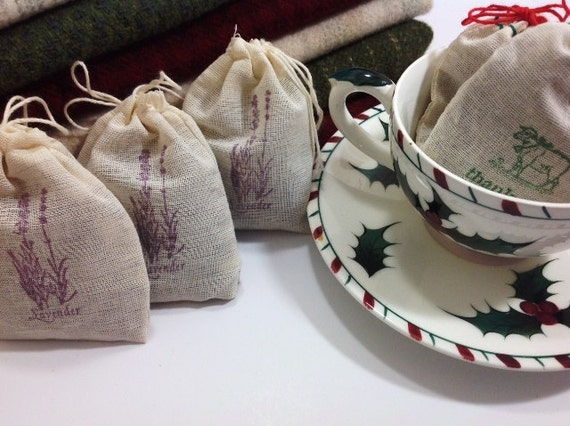 Three Lavender Filled Sachet Bags for Wool Stash, Dresser Drawers, Linen Closets, S214, Rug Hooking Gift, Gift Exchange