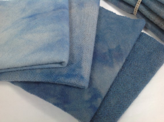 4) Fat Eighths, Country Blues, Hand Dyed Wool for Rug Hooking and Applique, W445, Flag Blue, Summer Blue, Mottled Blues
