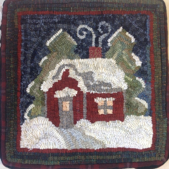 "Rug Hooking PATTERN, Winter Wonderland, 14"" x 14"", P161, DIY Primitive Rug Hooking"