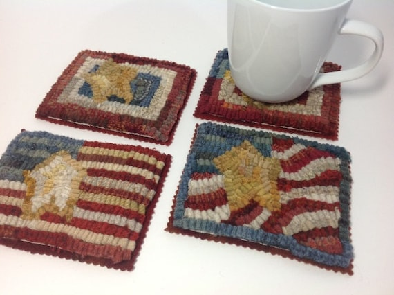 Rug Hooking PATTERN, Little Flag Mug Rugs, P198, DIY Coasters, mats, hooked rugs