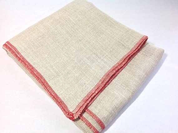 "Half Yard, Bleached Primitive Linen for Rug Hooking with Serged Edges, 32"" x 36"", S215, Rug Hooking Foundation Fabric"