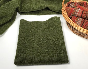 Sweet Pea Green, a mill dyed wool fabric for Rug Hooking and Appliqué, W409, Green Herringbone