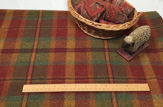 Autumn Leaves Plaid, a mill dyed wool for Rug Hooking and Appliqué, W570, Red, Orange Green Plaid, Gamekeeper Plaid