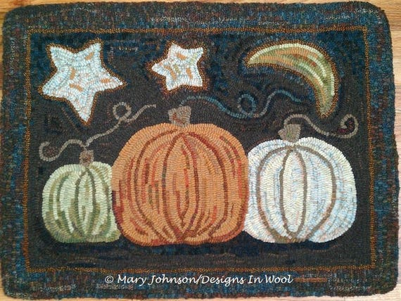 "Rug Hooking PATTERN, Pumpkin Trio, 20"" x 26"", J850, Pumpkin Hooked Rug, Folk Art Pumpkins,  DIY Rug Hooking"