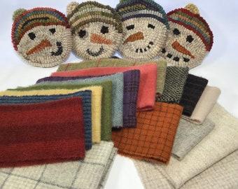 Snowmen Mug Rugs, DIY Rug Hooking,  WP215, Wool Pack Only or Wool Pack and Pattern, Snowman Wool, Winter Coasters