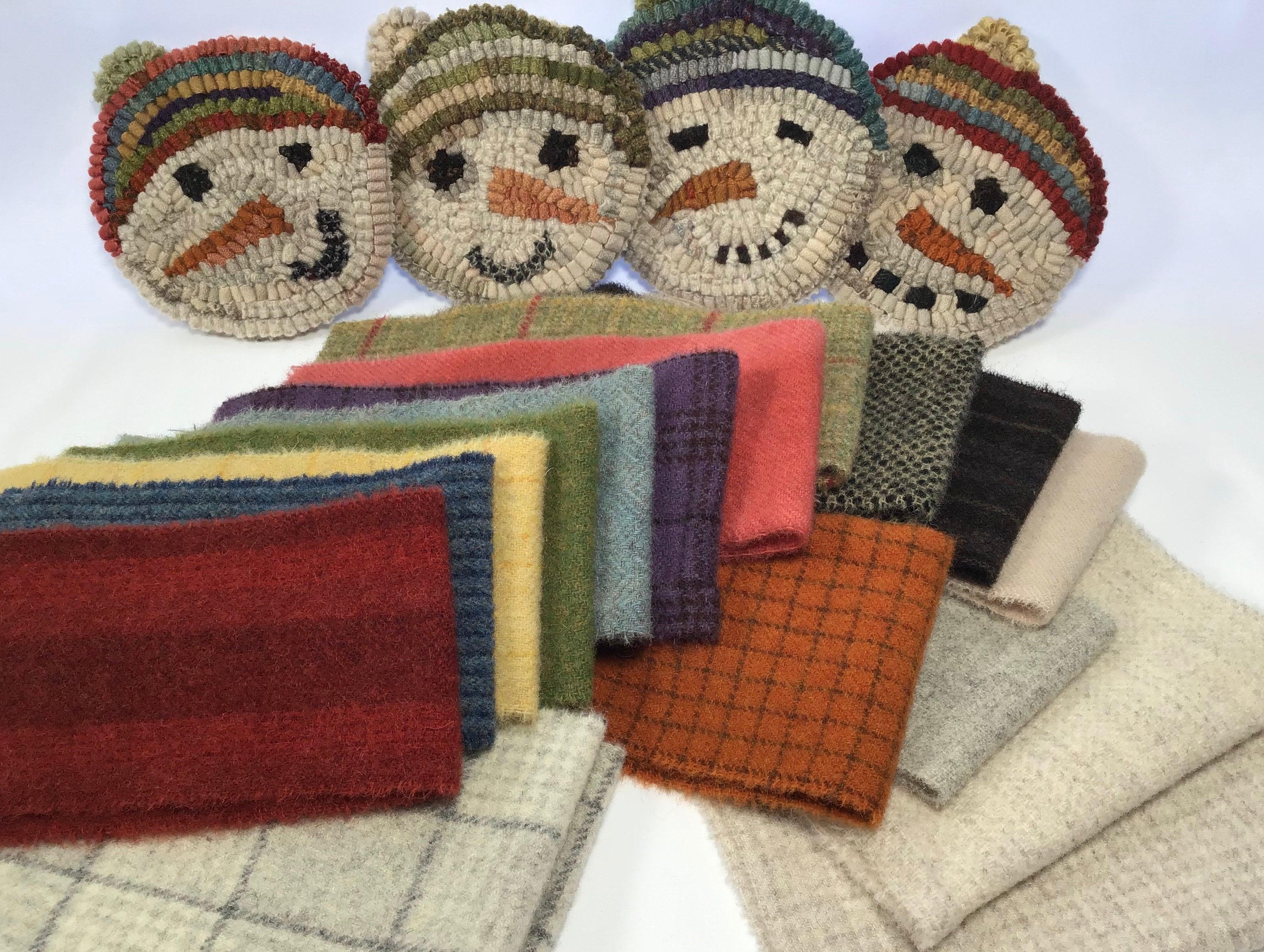 Wool Pack For Snowmen Mug Rugs Wp215 Diy Rug Hooking Christmas Coasters Snowman Wool Winter Rug Project