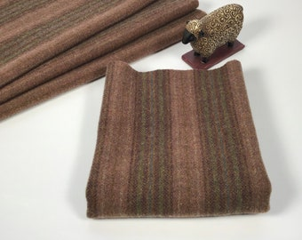 Saddle Blanket, a mill dyed wool fabric for Rug Hooking and Applique, W600, Dusty Rose and Khaki Brown Stripe