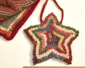 Primitive Star Ornament, S216, Tree Ornament, Door Hanger, Gift Exchange, Rug Hooked Star