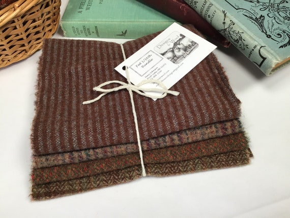 4) fat 1/16ths wool bundle, Canyon Path, mill dyed wool fabric for rug hooking and applique, W597, Autumn Brown Textures