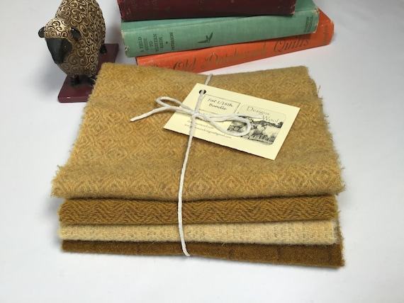 4) fat 1/16ths Wool Bundle, Sunflower Harvest, 100% wool fabric for rug hooking and applique, W553, Golden Yellows, Nugget Golds